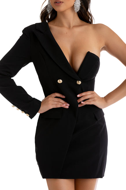 Haute Ambition Blazer Dress - Black