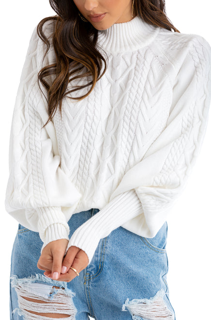 Girl About Town Sweater - White