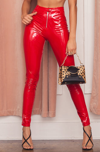 Invasion Of Privacy Pant - Red Patent