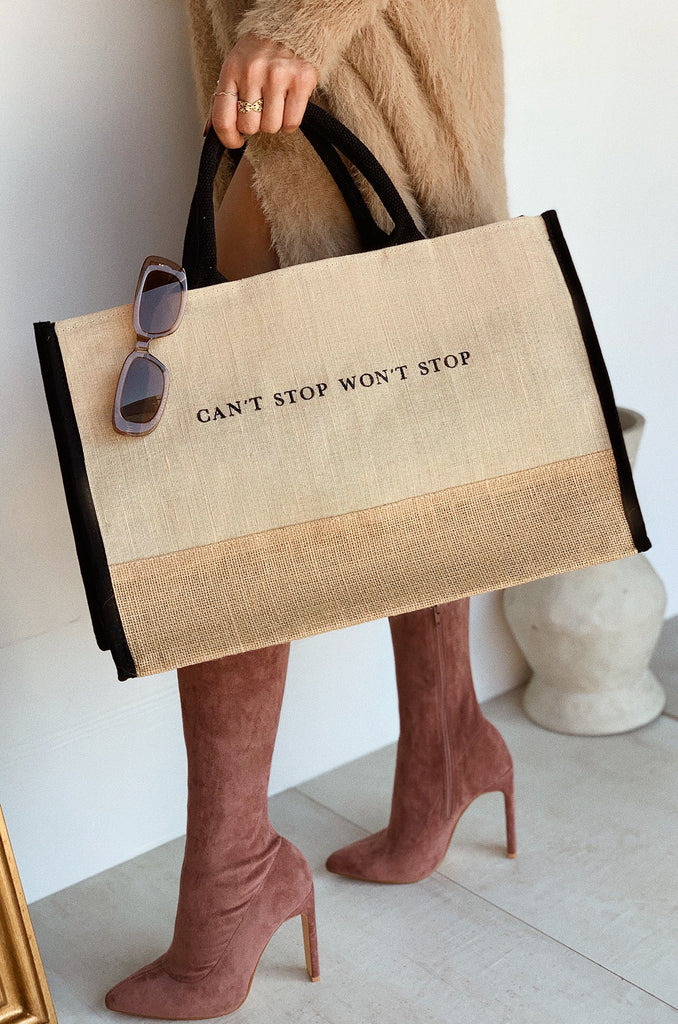 Can't Stop Won't Stop Tote Bag - Nude