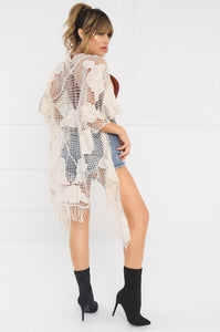 Cut Loose Crochet Cardigan - Nude