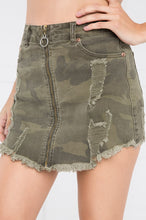 Outraged Denim Skirt - Camouflage
