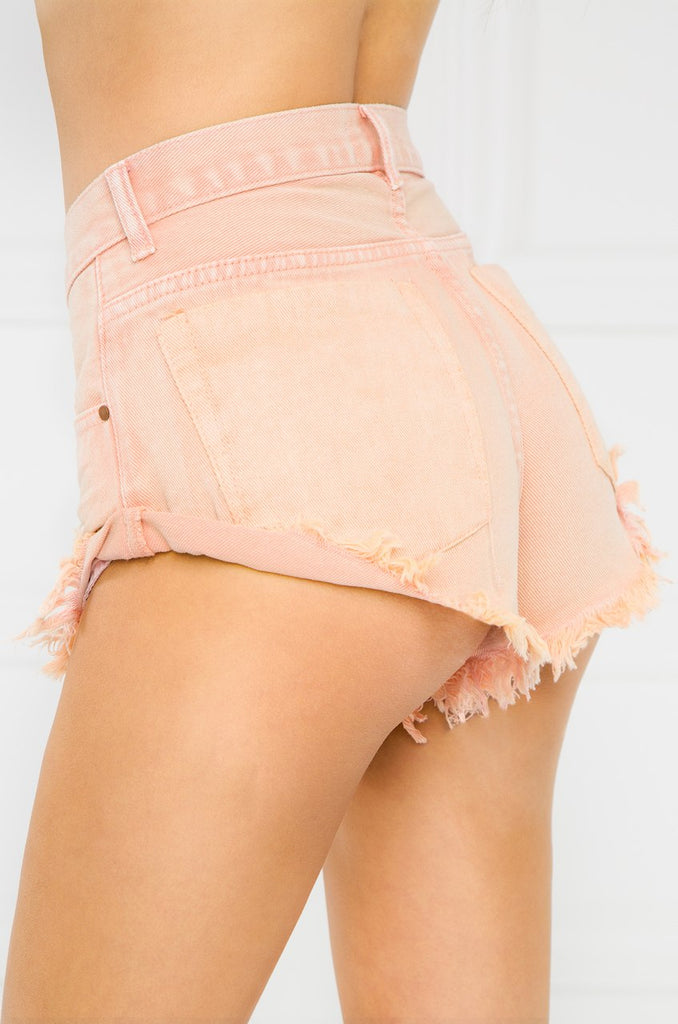 So Juicy Denim Shorts - Peach