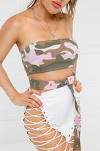 Snatched Bandeau Top - Pink Camouflage