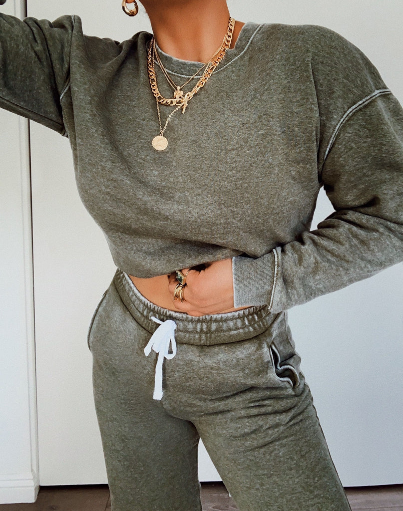 Chill Out Crewneck - Olive 2
