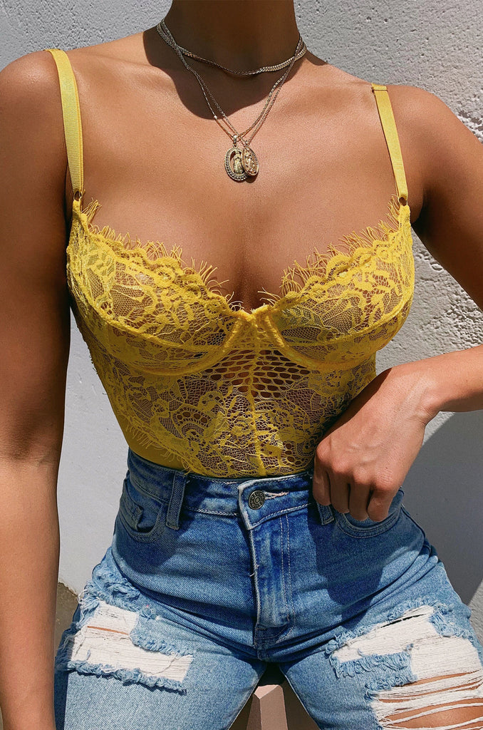 Risque Bodysuit - Yellow