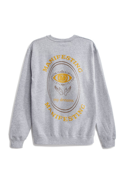 Manifesting My Dreams Crewneck - Grey