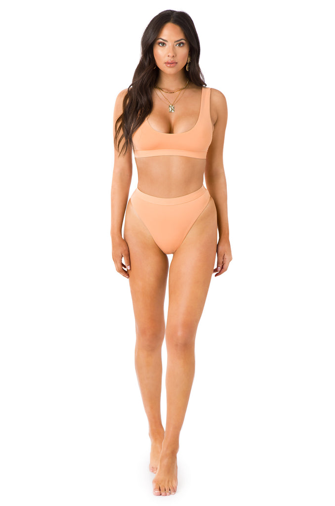 New Wave Bikini Top - Peach