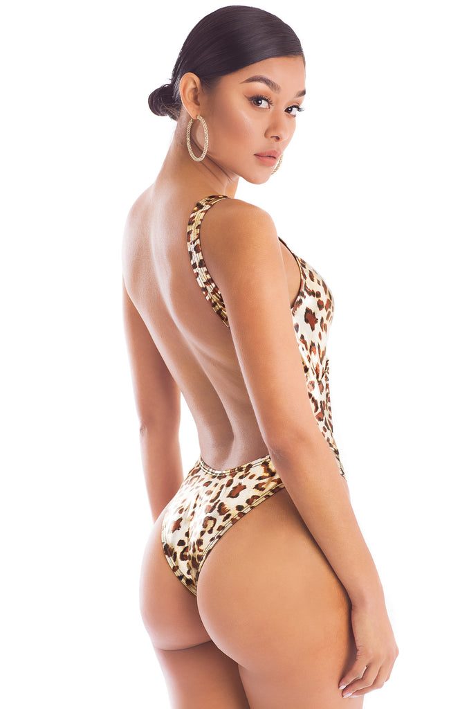 Cut You Off Swimsuit - Leopard