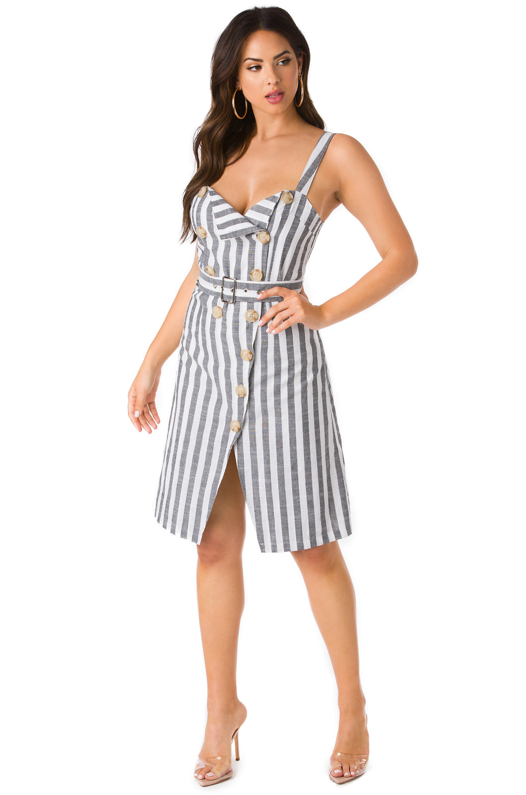 Doin Life Right Dress - Grey Stripe