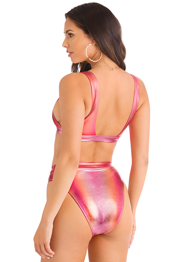 Color Wave Bikini Top - Pink Iridescent