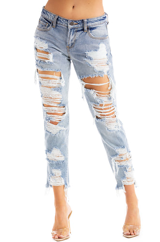 Trendy Chic Jeans - Light Denim