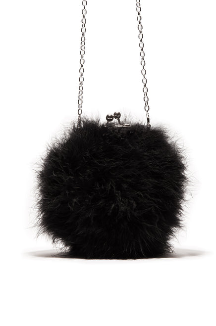 Oh Baby Crossbody Bag - Black Faux-Fur