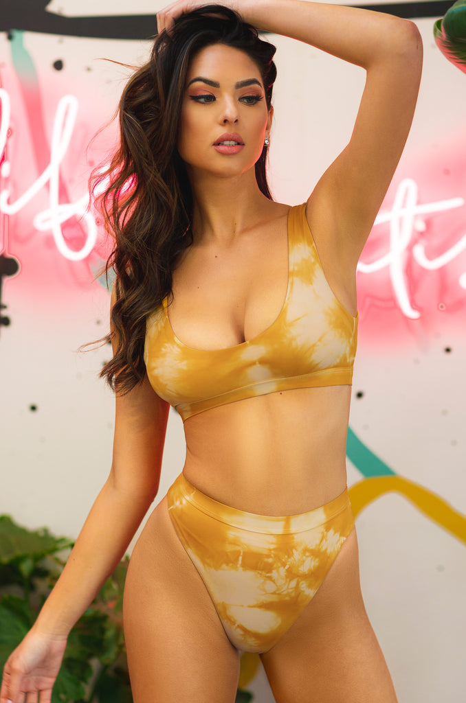 New Wave Bikini Bottom - Yellow Tie Dye