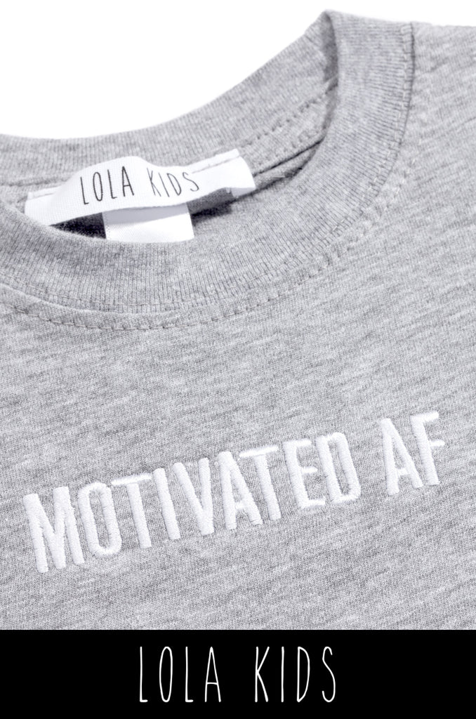 Motivated AF Kids Tee - Grey