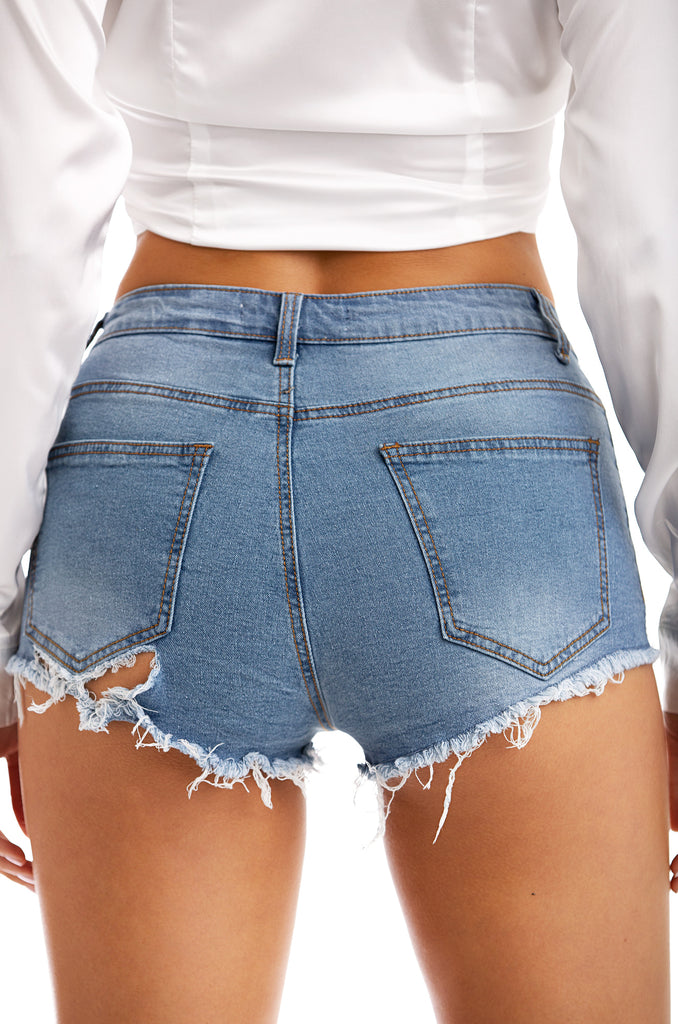 Queen Drip Shorts - Denim