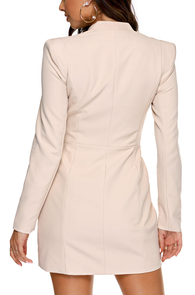 The Executive Blazer Dress - Nude