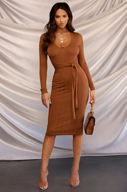 Out For The Night Dress - Rust