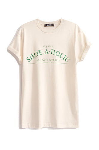 Shoeaholic Tee - Nude/Emerald