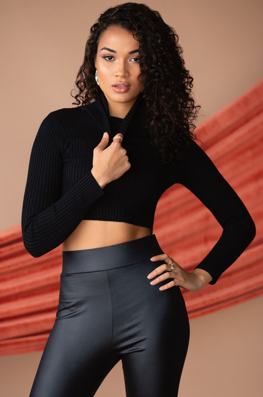 Overruling Crop Sweater - Black