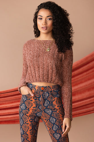 Meet Me Half Way Crop Sweater - Deep Mauve