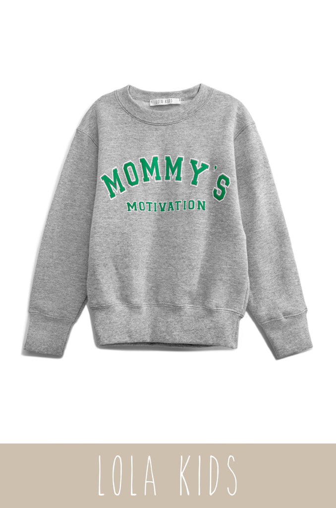 Mommy's Motivation Varsity Crewneck - Grey