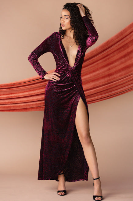 Elegantly Chic Dress - Wine
