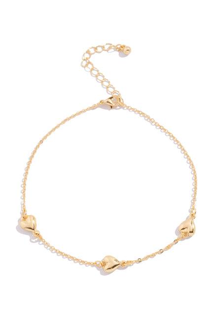Full Heart Anklet - Gold