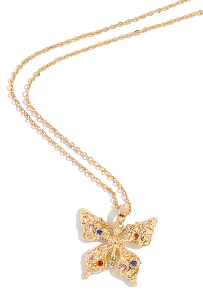 Night Butterfly Necklace - Gold