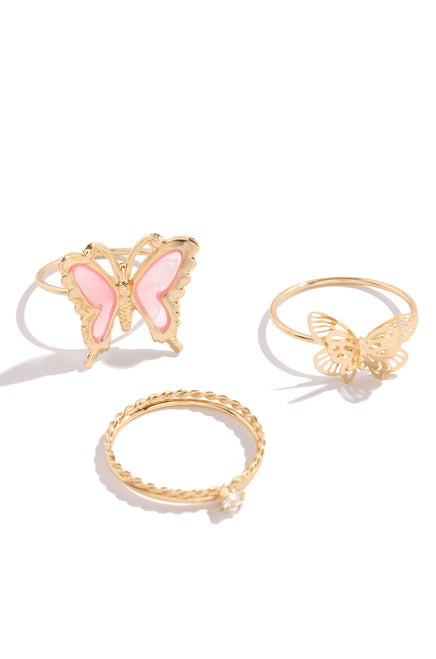 Feeling Butterflies Ring Set - Gold