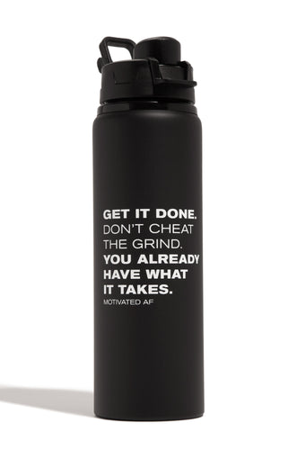 Motivated AF Water Bottle - Black/White