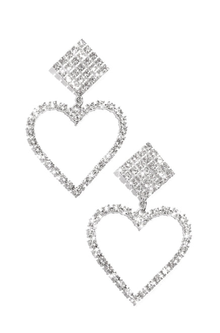Heart Of Diamonds Earring - Silver