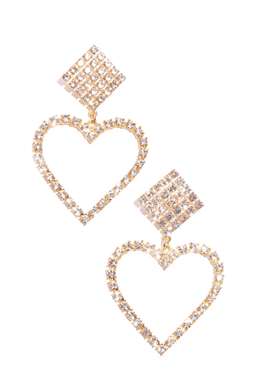 Heart Of Diamonds Earring - Gold