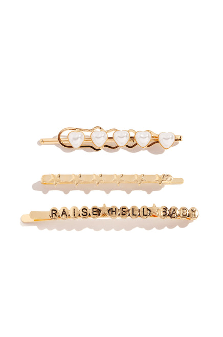 Raise Hell Hair Pins - Gold