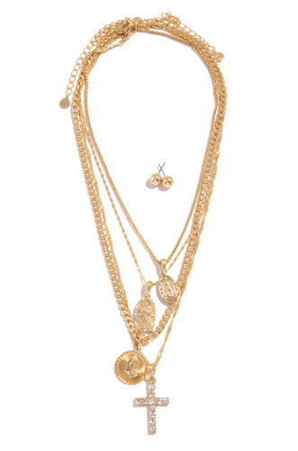 Faith & Love Necklace Set - Gold