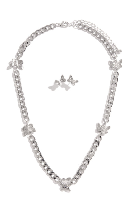 Butterfly Baby Necklace Set - Silver