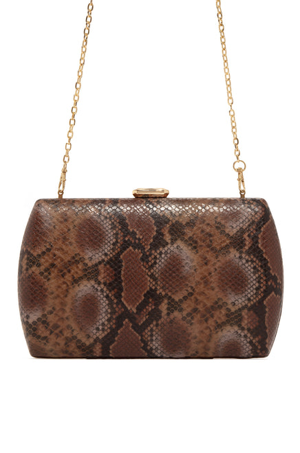 Slip Away Clutch - Tan Snake