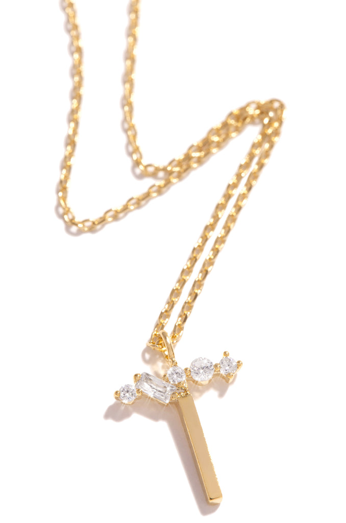 T Necklace - Gold