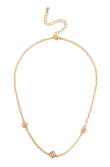 Sweet Rose Necklace - Gold