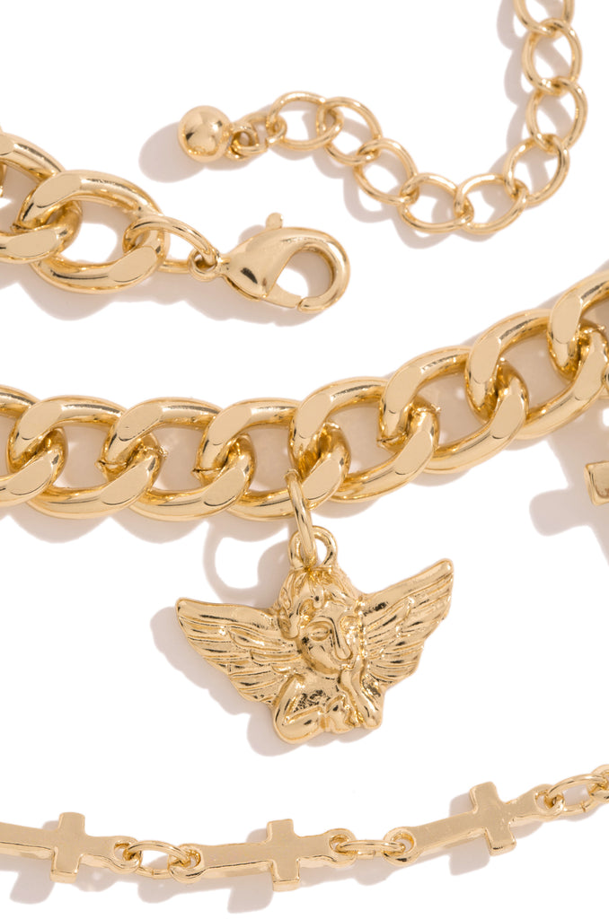 Angel Baby Necklace Set - Gold