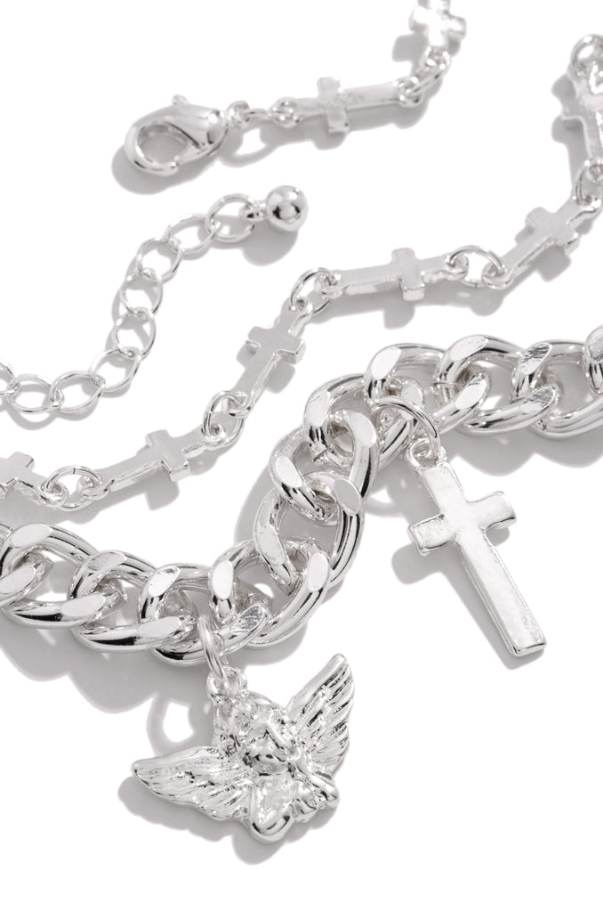 Angel Baby Necklace Set - Silver