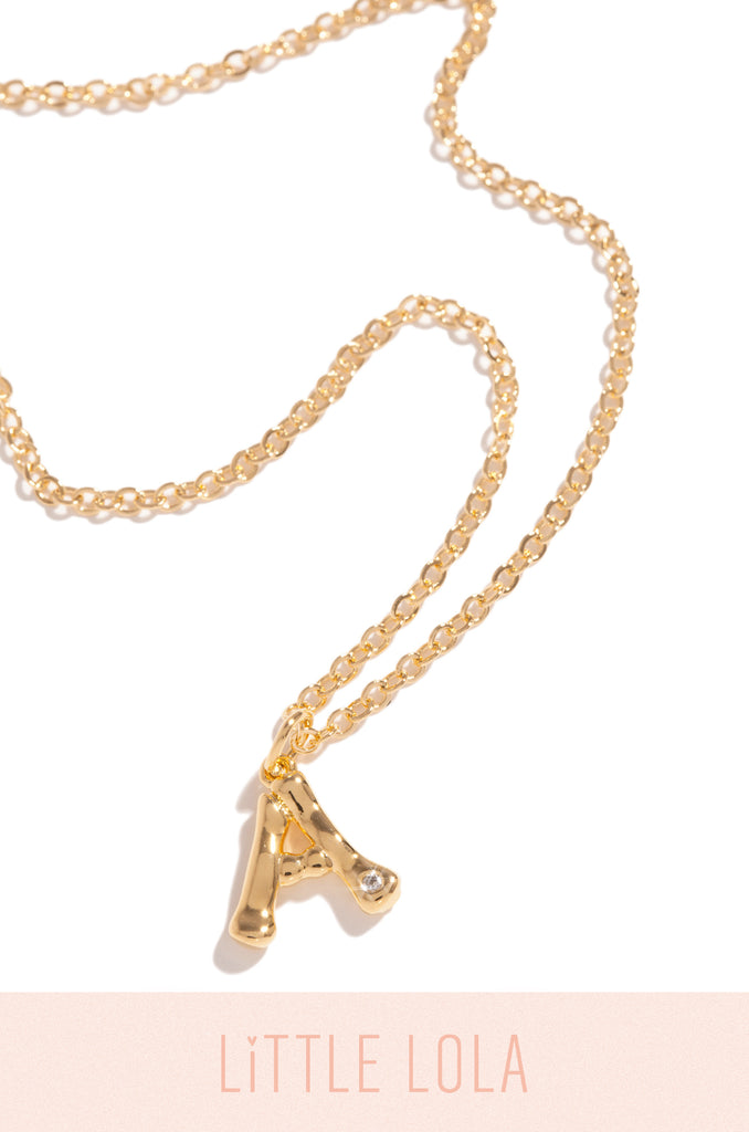 Mini A Necklace - Gold