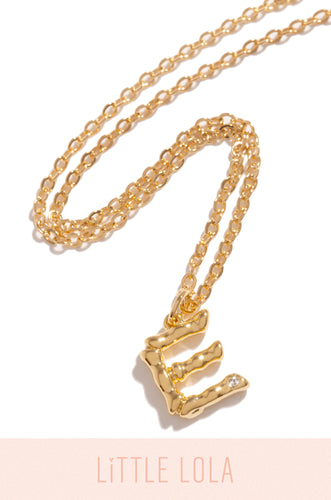 Mini E Necklace - Gold