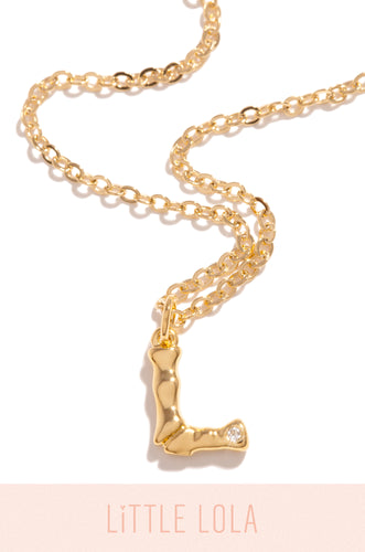 Mini L Necklace - Gold