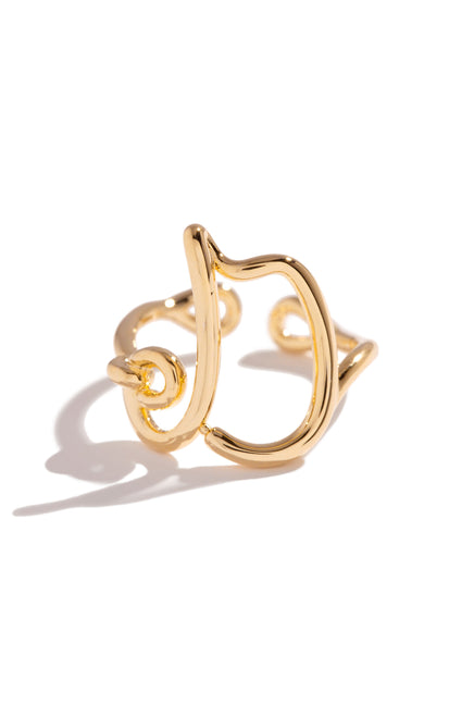 D Initial Ring - Gold