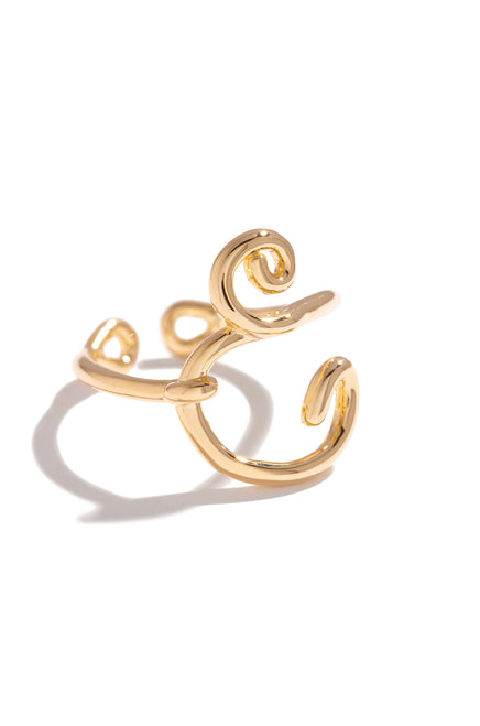 E Initial Ring - Gold