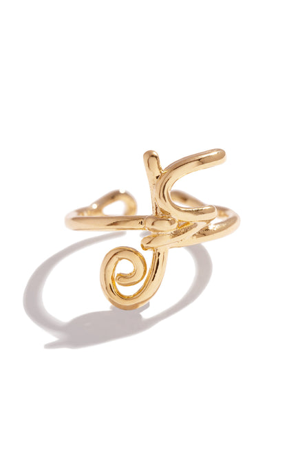 F Initial Ring - Gold