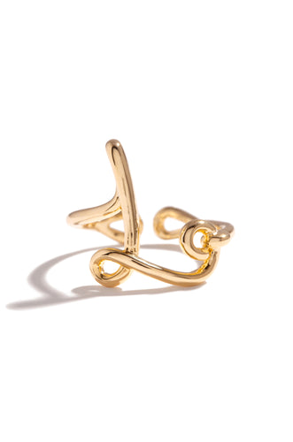 L Initial Ring - Gold