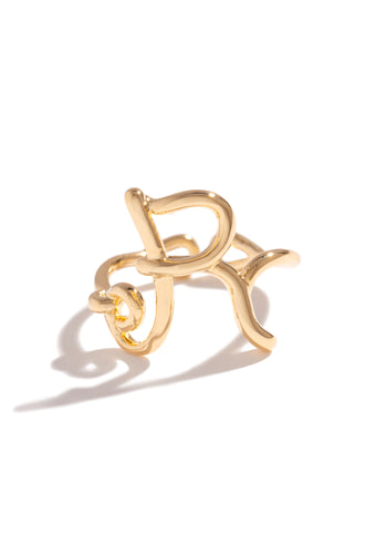 R Initial Ring - Gold