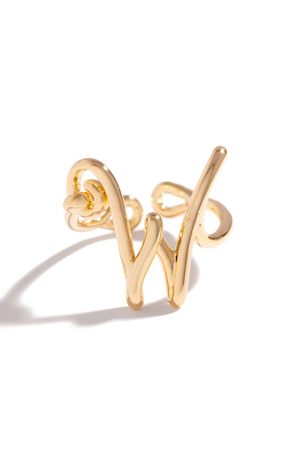 W Initial Ring - Gold